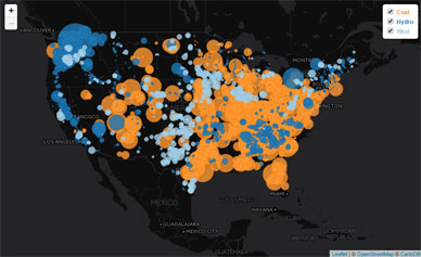 Power Near and Far: Coal, Hydroelectric, and Wind Power Plants in the US